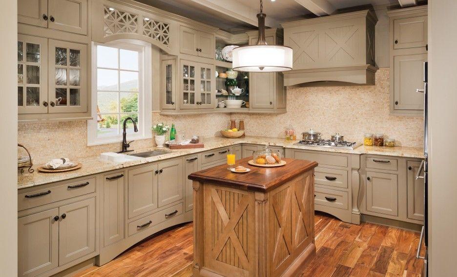 L shaped beige polished wooden cabinet in