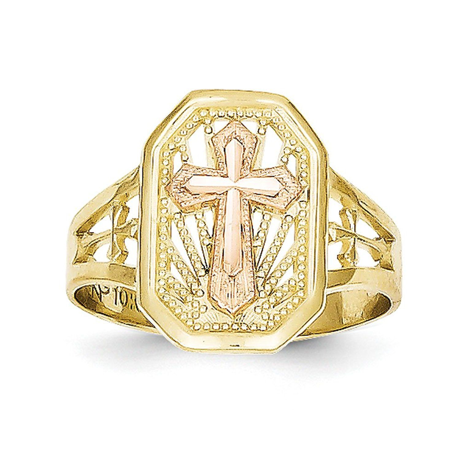 Women S 10k Two Tone Gold Cross Ring Read More At The Image Link This Is An Affiliate Link And I Receive A Commission Cross Ring Gold Cross Gold Filigree