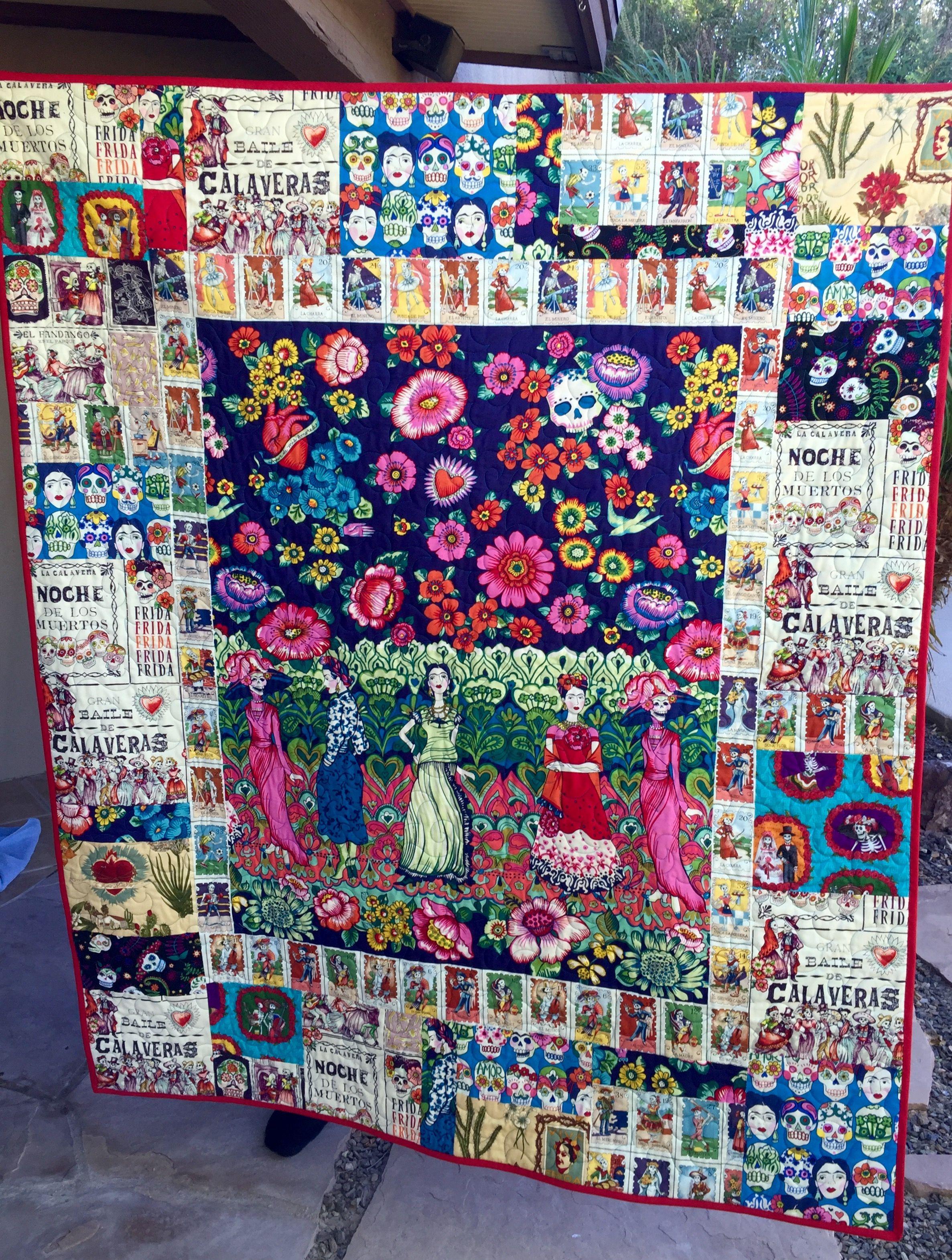 Sugar Skull Quilt : sugar, skull, quilt, Frida, Kahlo, Sugar, Skull, Quilt, Quilts,, Blanket,, Quilts