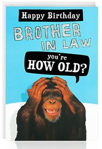 BROTHER IN LAW Birthday Card Funny Humour Joke Monkey Old Male OTC5041