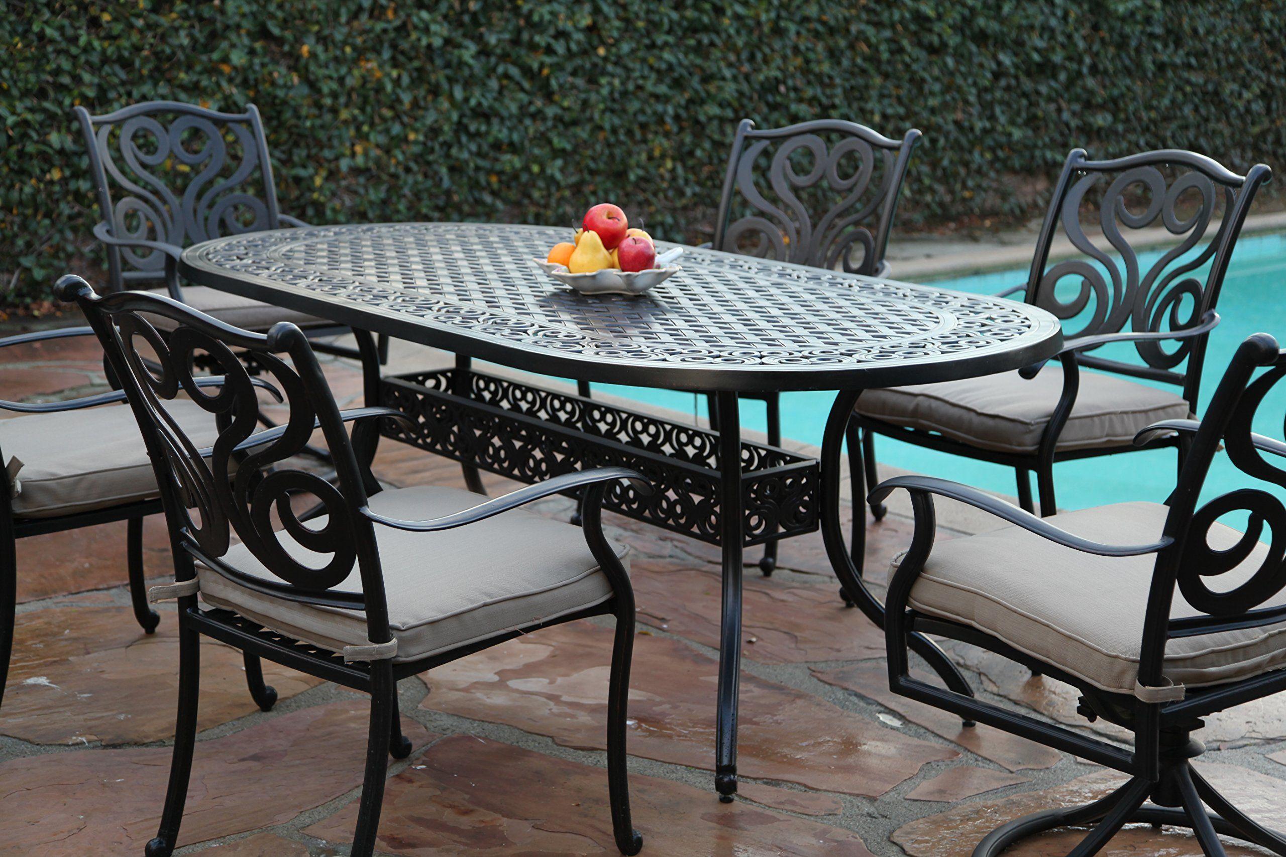 Cbm Outdoor Patio Furniture 7 Piece G Aluminum Dining Set With 2