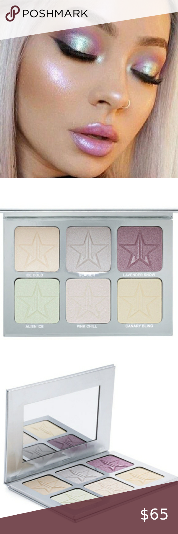 Jeffree Star Platinum Ice Skin Frost Pro Palette Bnib Highlighting Powder Is Extremely Pigmented So Get Ready To Glow Lik In 2020 Skin Frost Jeffree Star B Fashion