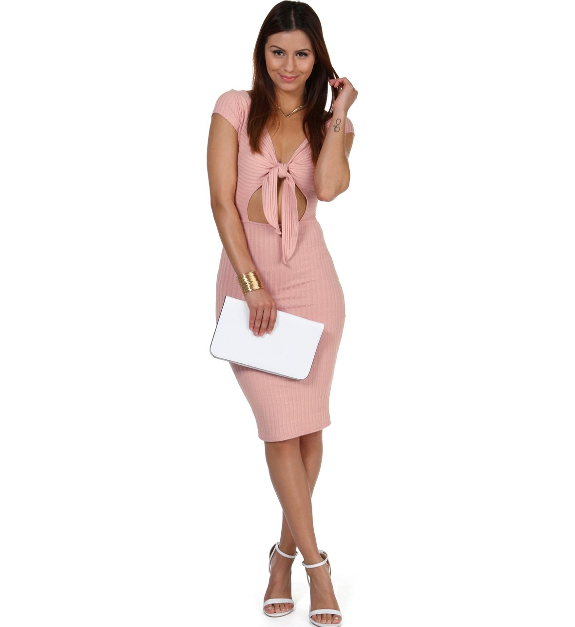 Pink All Day Ribbed Midi Dress at WindsorStore