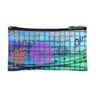Funky Flowers Light Rays Abstract Design Cosmetic Bag
