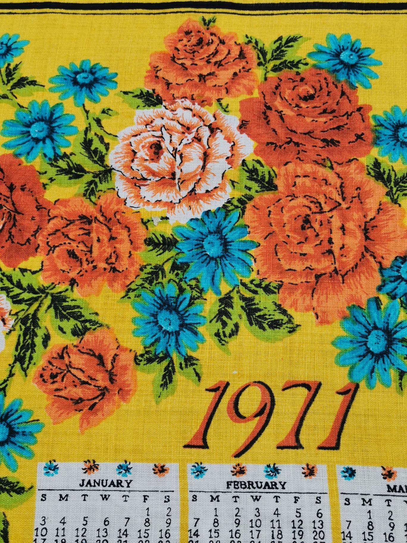 Vintage 1971 Calendar Tea Towel Flower Power Orange Blue Yellow