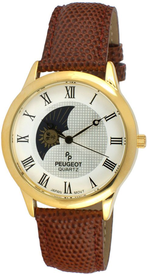 8c6ae91272a Peugeot Mens Brown Leather Strap Sun Moon Phase Watch 2047GBR ...