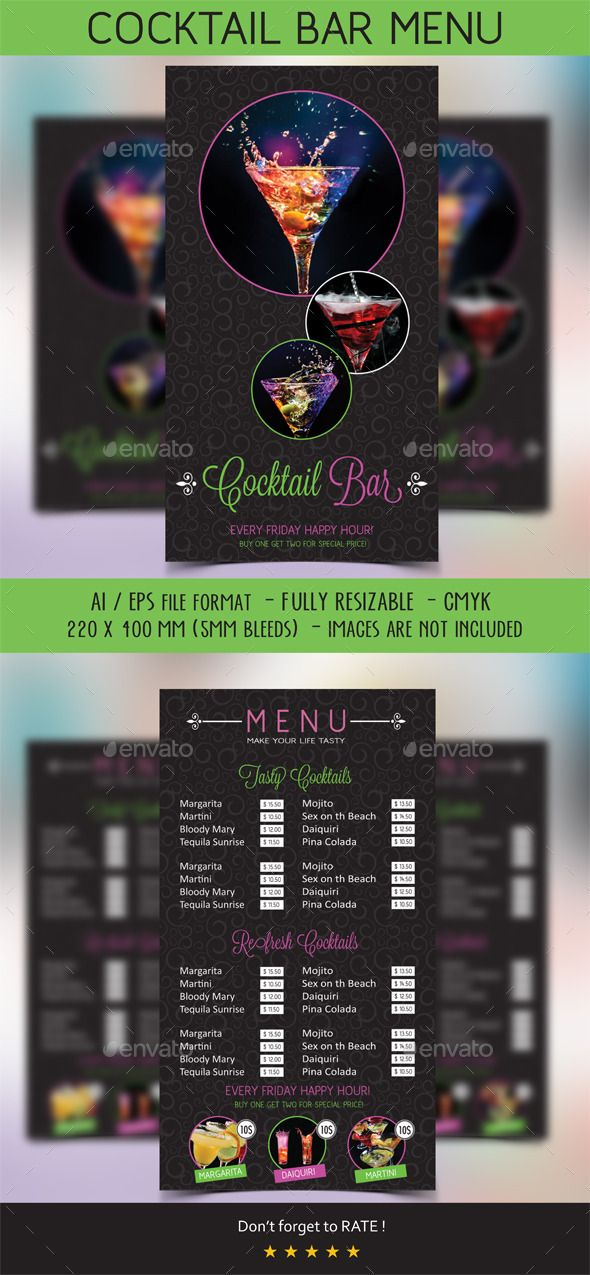Cocktail Menu  Menu Templates Menu And Food Menu Template