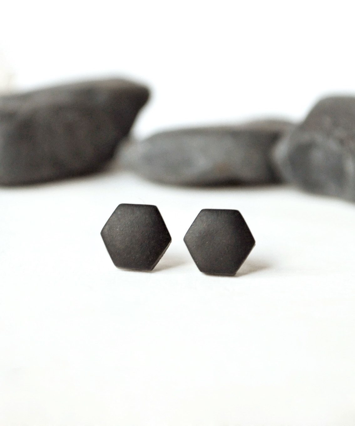 d312106ac Black studs, matte black earrings, earrings for men, unisex, matte black  studs…