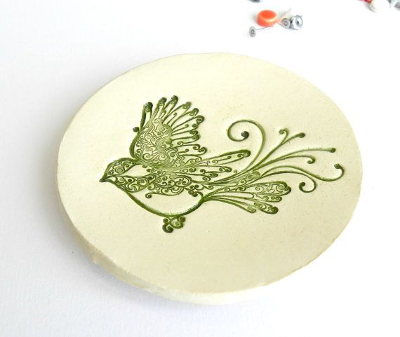 Valentine's Day Bird Ceramic Dish African Violet and by Ceraminic