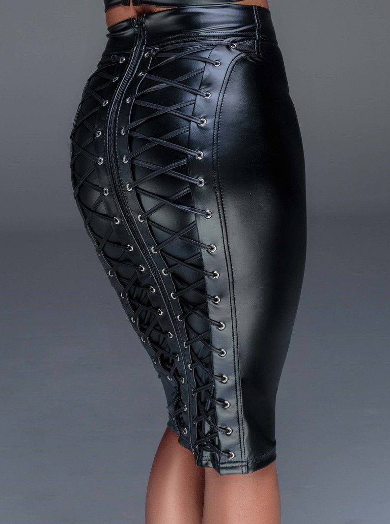 32b08720f5 Power wet-look pencil skirt with lace-up back panels and long two-way zipper.  Fetish-inspired. Imported from Europe. Other accessories not included.
