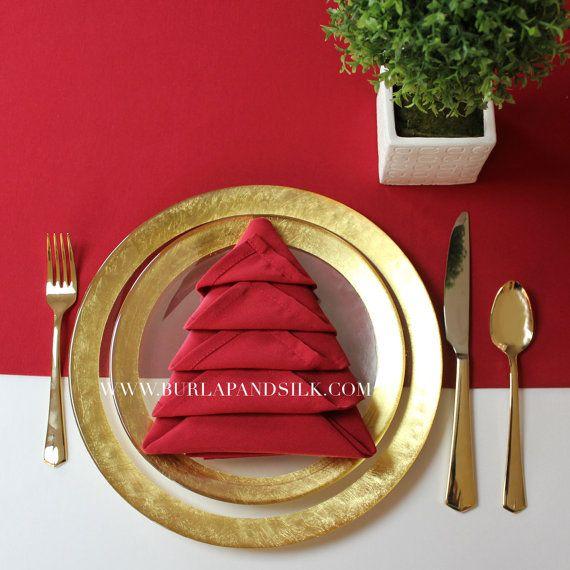 Red Napkin for Weddings, 20 inch Red Napkins, Christmas Table Decor - wholesale christmas decor