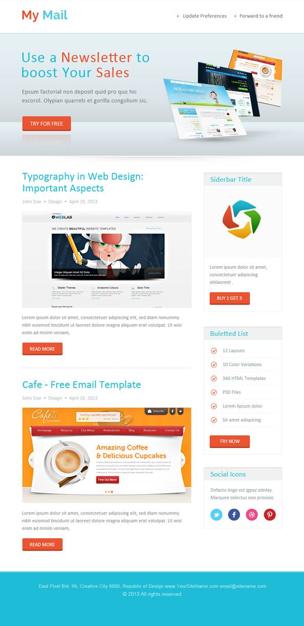 Abstract Html Newsletter Template #newsletter #email #free | DIRECTV ...