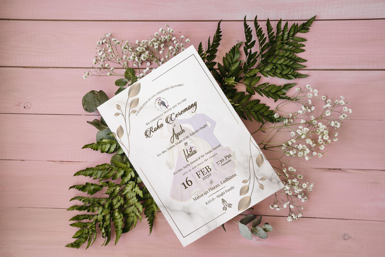 Roka Ceremony Invitation Card In 2020 Wedding Invitation Cards Invitations Invitation Card Design