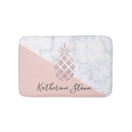 elegant rose gold glitter white marble blush pink bath mat blush pink