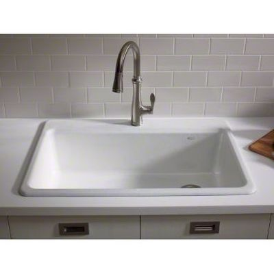 Kohler K 5871 1a2 0 Riverby White Drop In Single Bowl Kitchen Sinks