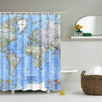 Mouldproof World Map Shower Curtain With Images Fabric Shower Curtains Shower Curtain Bathroom Decor Accessories