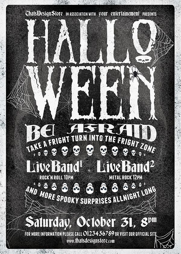 Halloween Flyer Template Psd to customize easily Vol1 - black and white flyer template