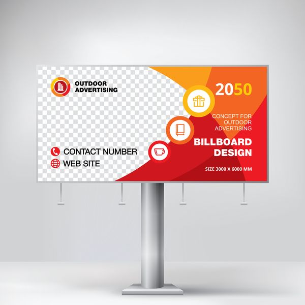 Free Eps File Red Outdoor Advertising Billboard Template Vector 14