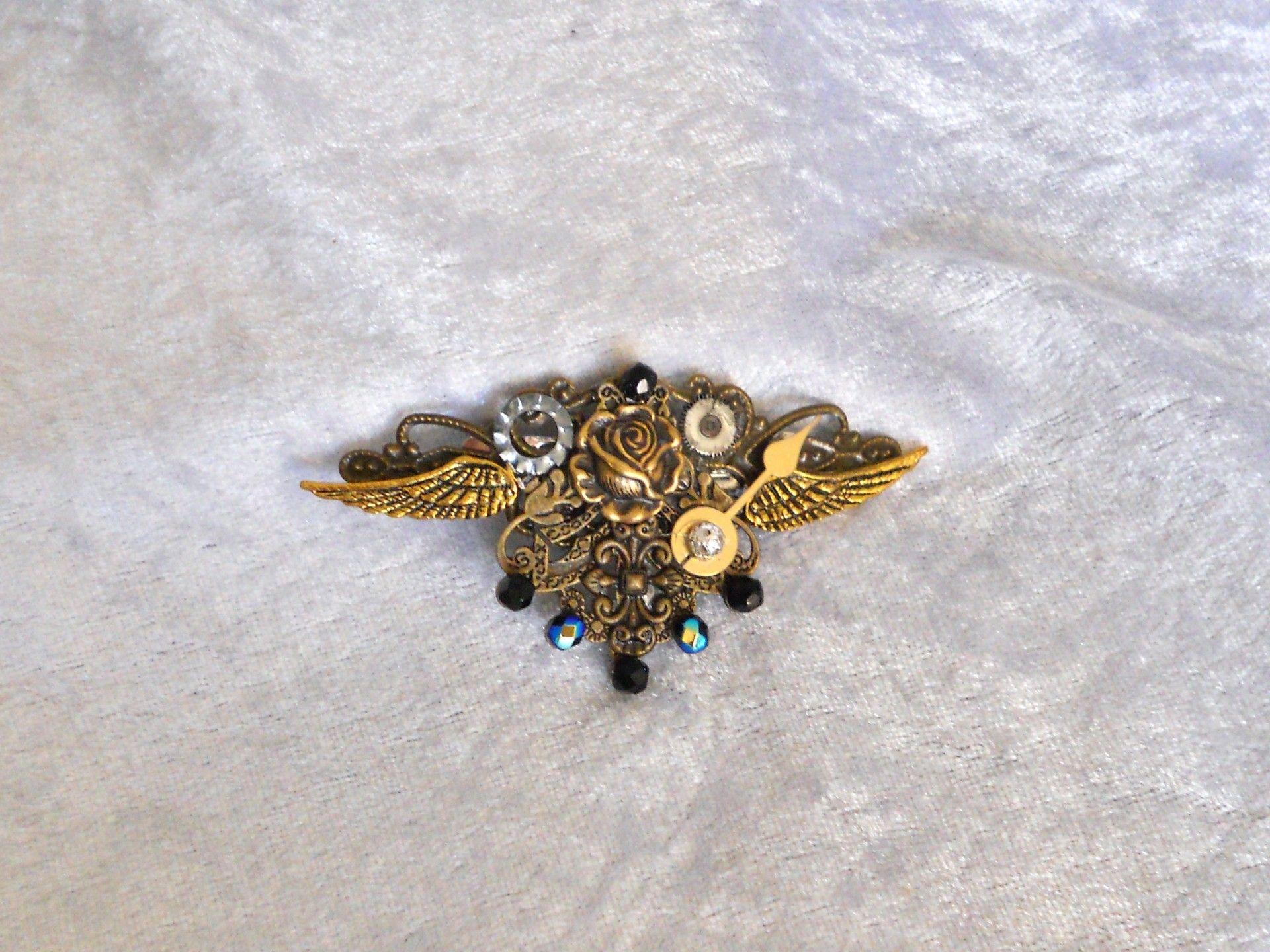 Barrette Rose & Wings