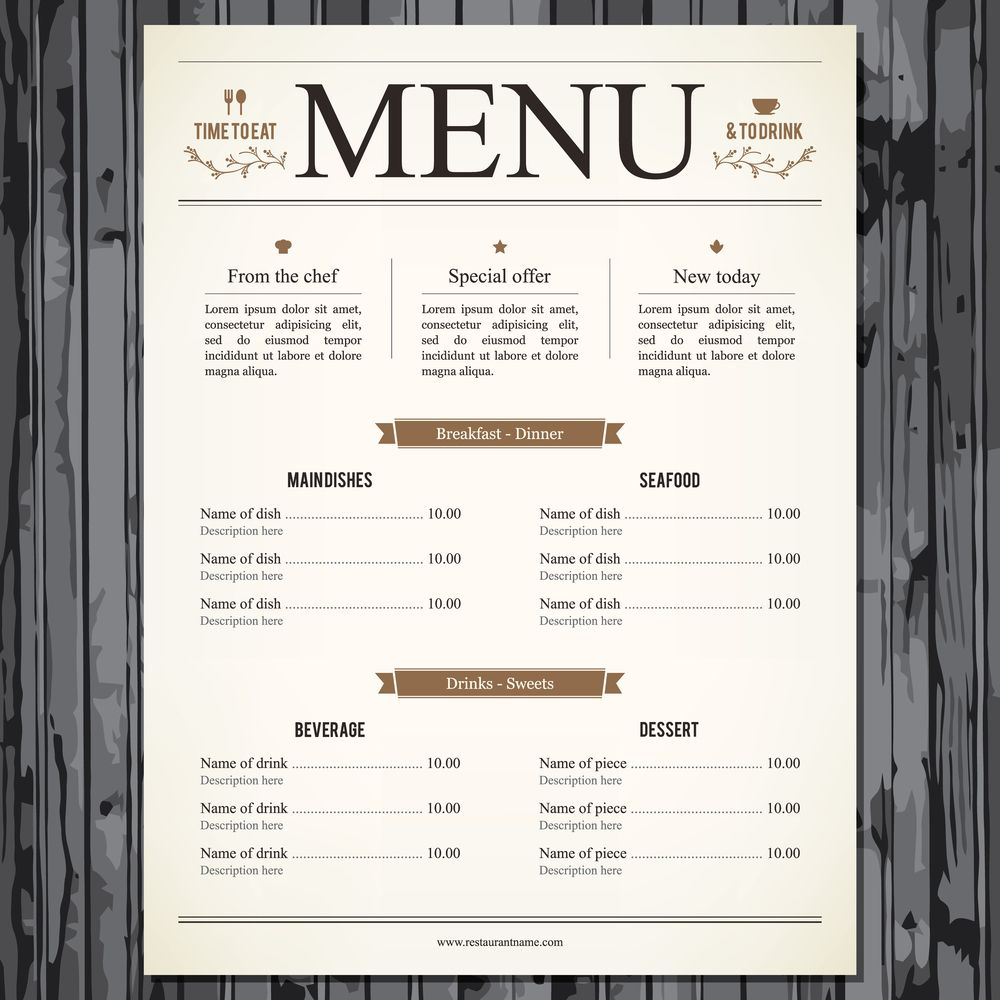 Corporate  The Restaurant Menu Provides An Effective Use Of