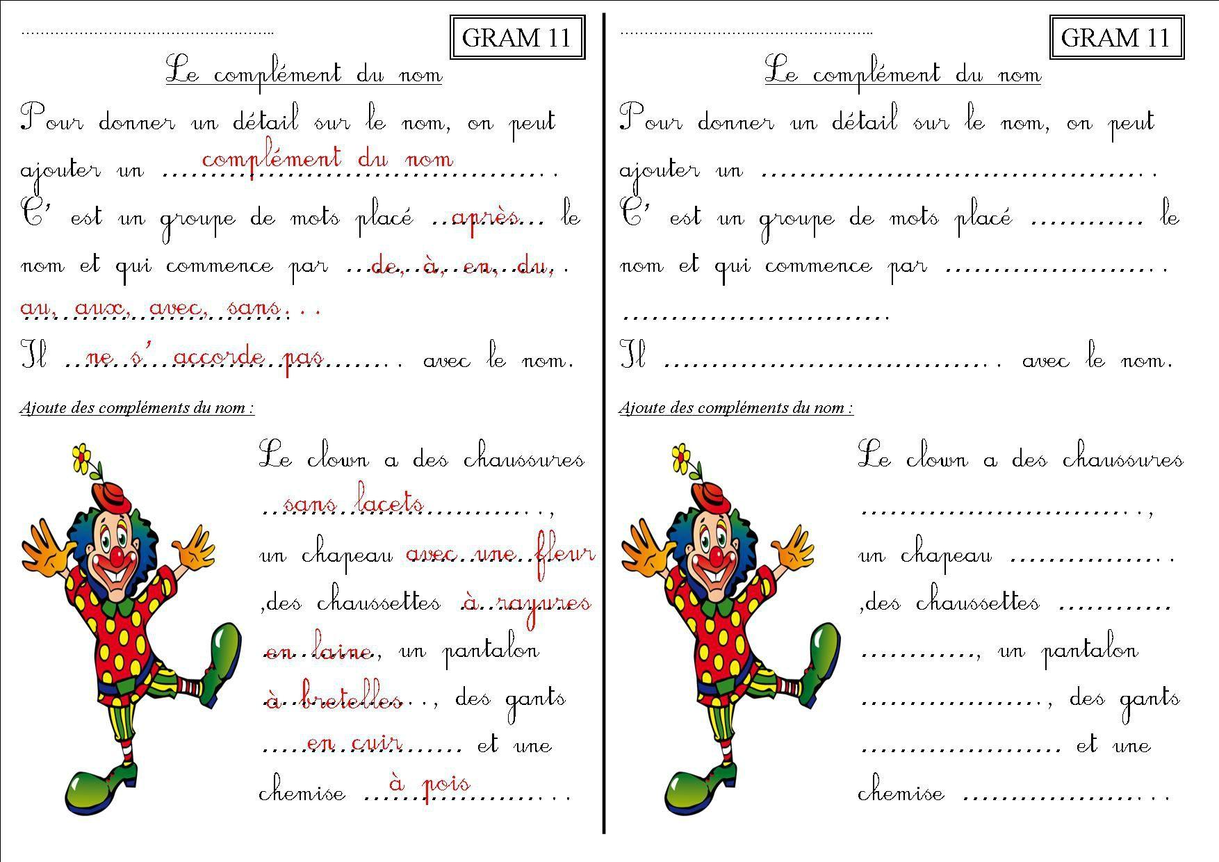 GRAM 11 CE2 : le complément du nom - La classe des CE de ...