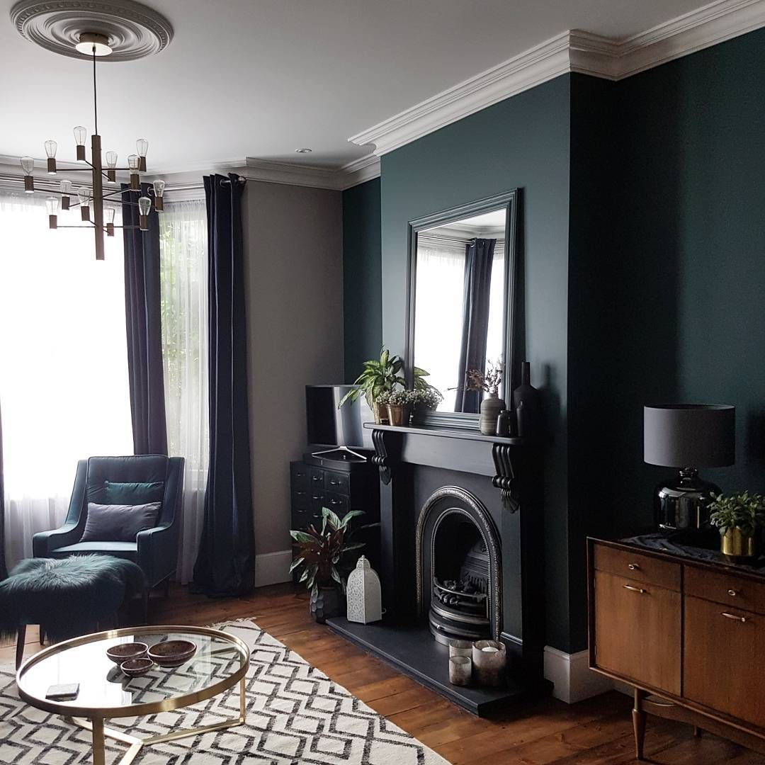 Inchyra Blue Feature Wall Dark Living Rooms Blue Living Room Victorian Living Room