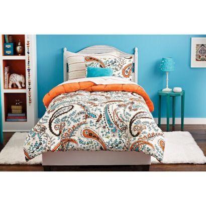 Paisley Bed Set Orange Brown Turquoise