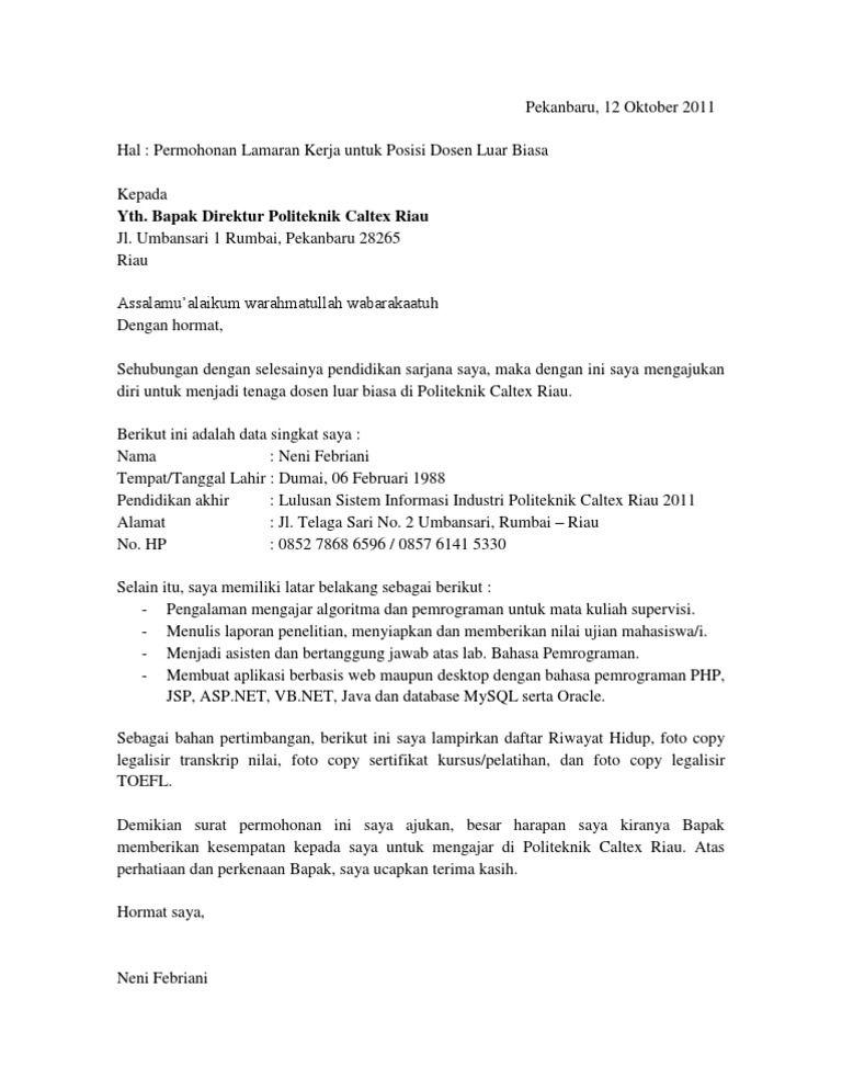 Contoh Surat Lamaran Kerja Guru Honorer Sd Yang Masih Kuliah Id Lif Co Id
