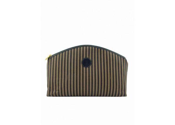 b17123ff896 Fendi Striped Coated Canvas Cosmetic Case Clutch Bag   Luxury Handbags