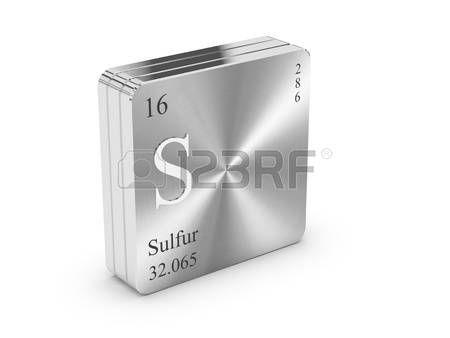 Azufre - elemento de la tabla peri�dica en el bloque de metal de acero photo