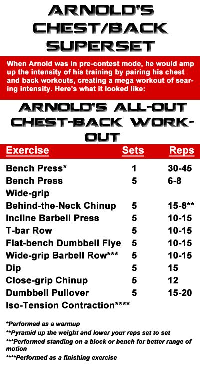 arnold workout chart: Articles the ultimate arnold training guide exercises