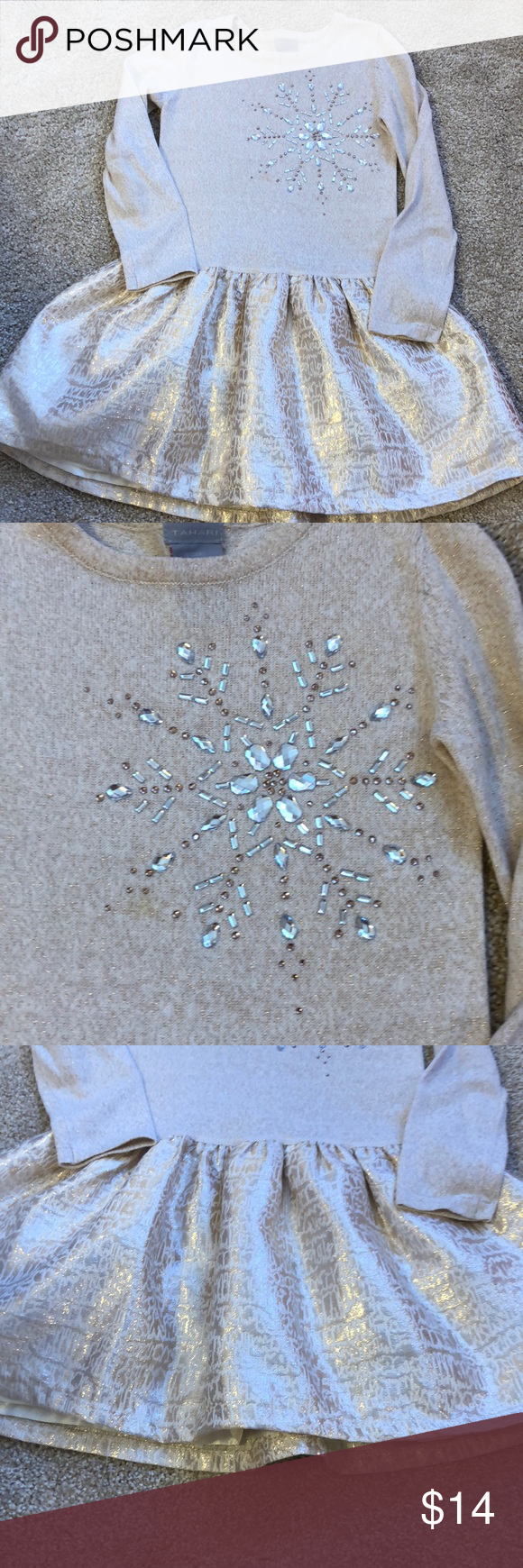 2ce1cb090644 Girls holiday dress sparkly and snowflake jewels So glamorous! Soft light  weight sweater material on top
