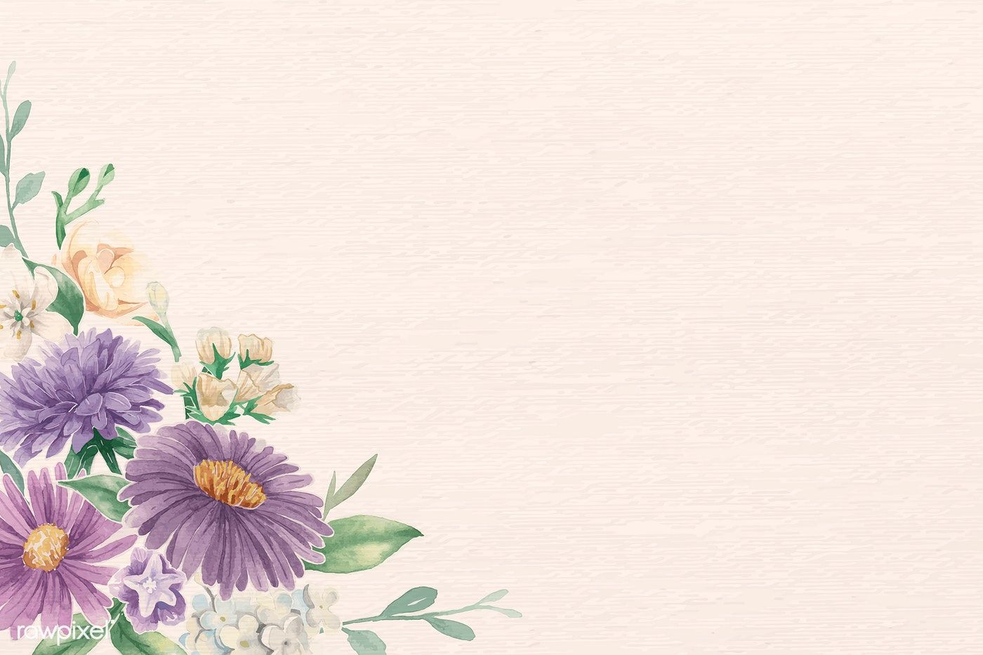 Download Premium Vector Of Purple Flower On White Background Vector 937058 Watercolor Pattern Background Purple Flowers Beige Background