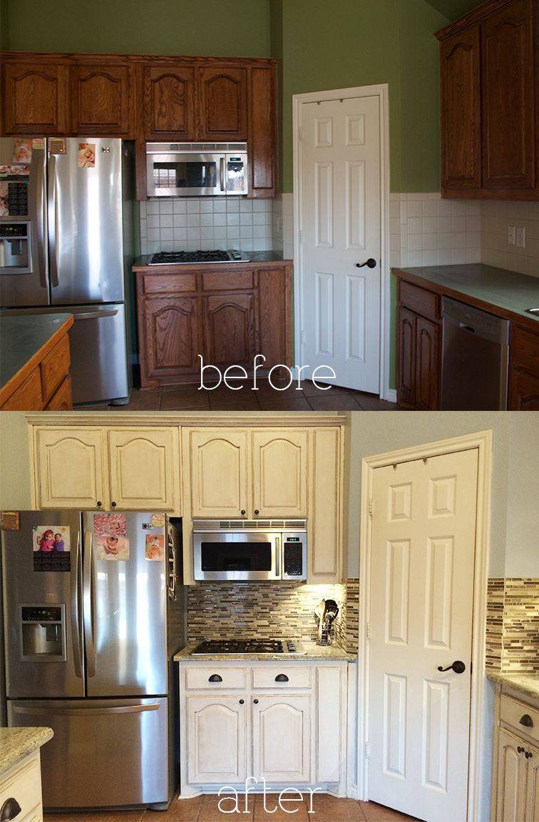 Antique White Kitchen Cabinets Before And After