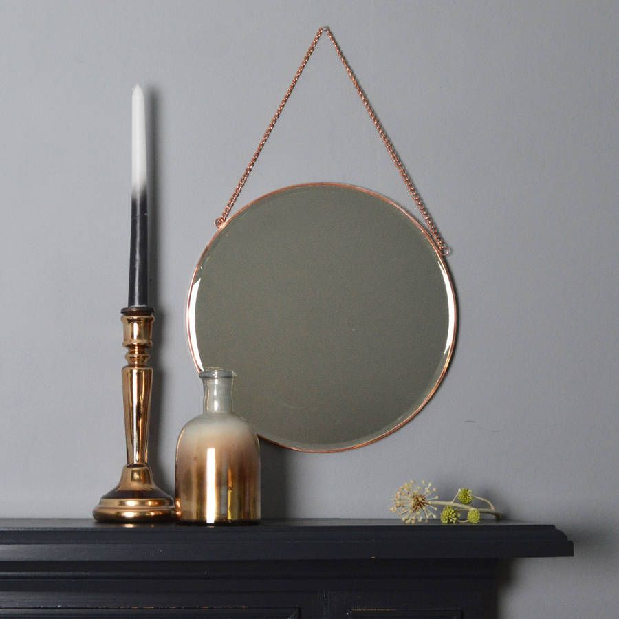Round Copper Mirror With Chain Copper mirror Rounding and Round