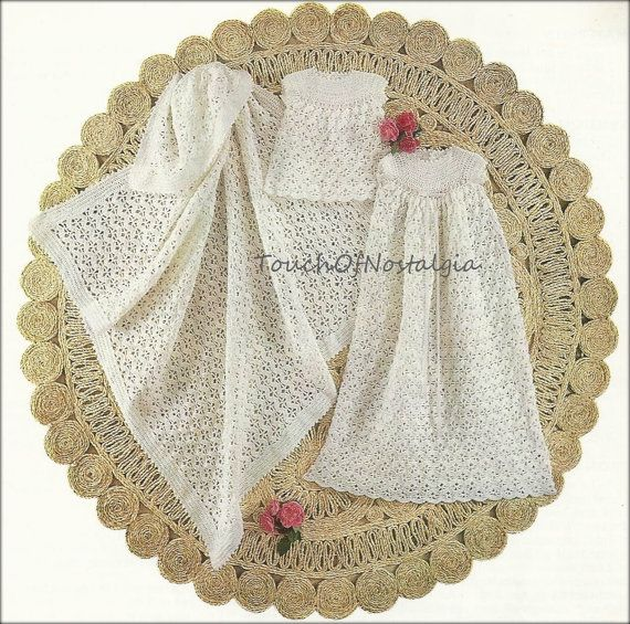 "Vtg Crochet HEIRLOOM CHRISTENING GOWN Set Crochet Pattern -  Dainty Long Gown 36"" Length / Matching Short Dress and Baby Shawl - Beautiful"