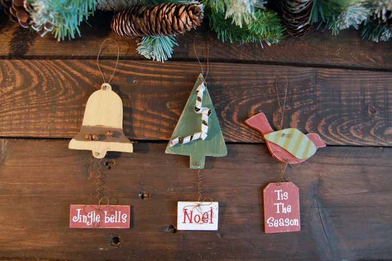 Image detail for -Shabby Chic Wooden Christmas Tree Decorations (Set