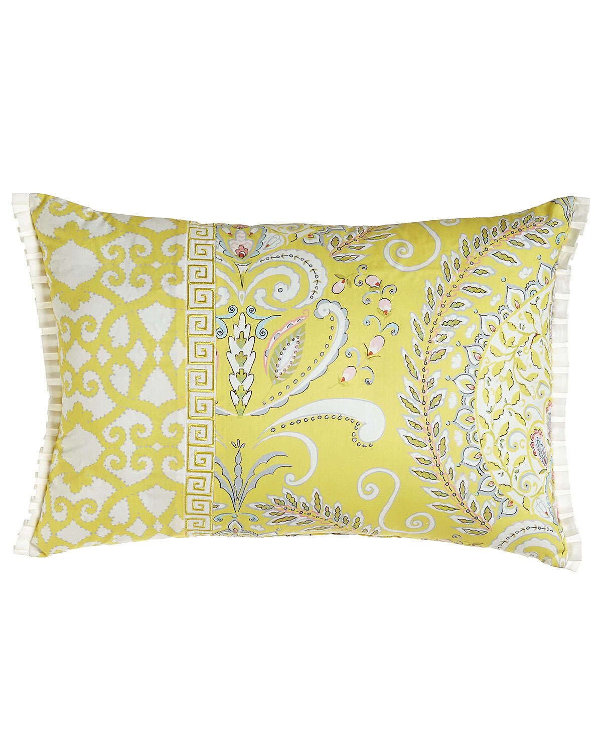 """Mixed-Pattern Pillow with Side Ruffles, 14"""" x 20"""""""