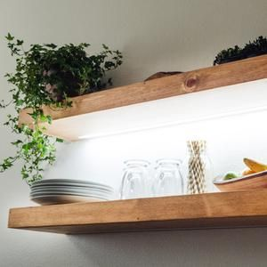 Floating Shelf With Led Lights Kitchen Shelving Free Shipping Recessed Light Strip Wood Shelves Rustic Farmhouse Any Size 12v Dc Floating Shelves Floating Shelves With Lights Floating Shelves Kitchen