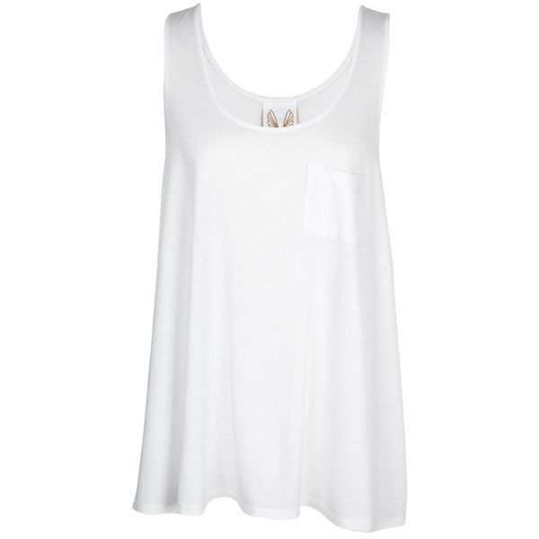 Loose oversized Forgiveness Tank with front pocket detail — ❤ liked on Polyvore