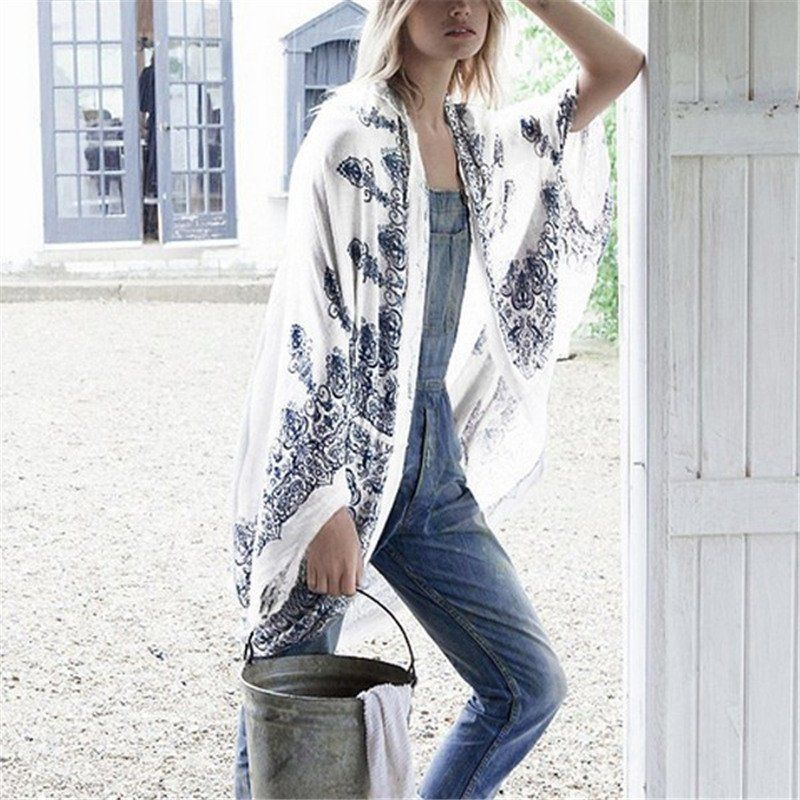 Floral Lace Design Bohemian Kimono Cardigan - Boho Chic Swimsuit ...