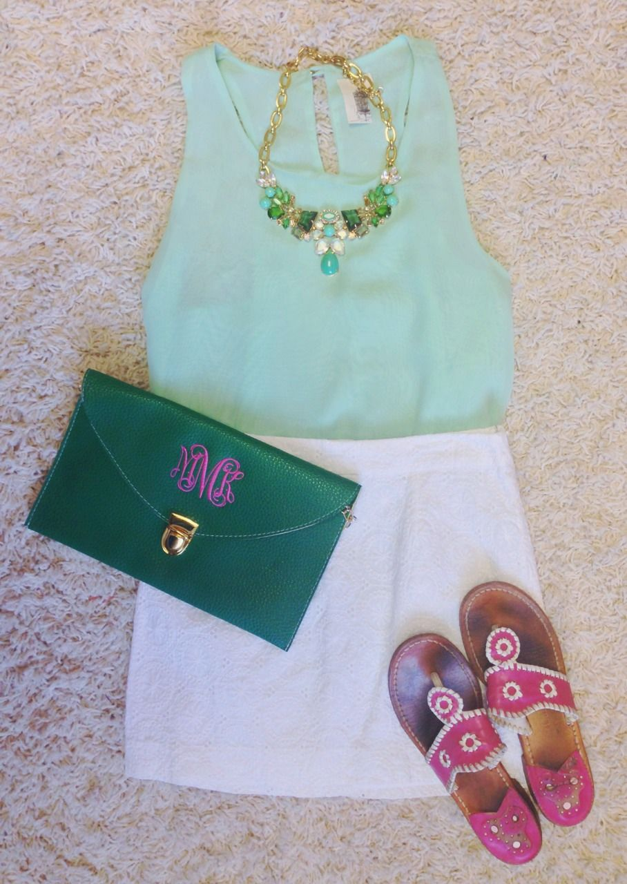 pinkandgreenlivingthedream:  Top- Francesca's, Necklace- Jcrew, Skirt- old navy, Clutch- etsy, Sandals- jack rogers