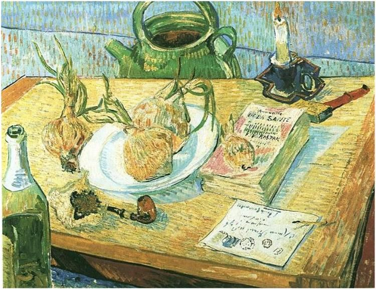 Vincent van Gogh Still Life: Drawing Board, Pipe, Onions and Sealing-Wax.  Oil on canvas.  Arles: January, 1889.  Otterlo: Kroller-Muller Museum.
