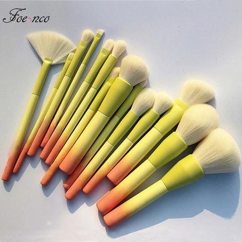 Photo of Gradient Color 14pcs Makeup Brushes Set Soft Cosmetic