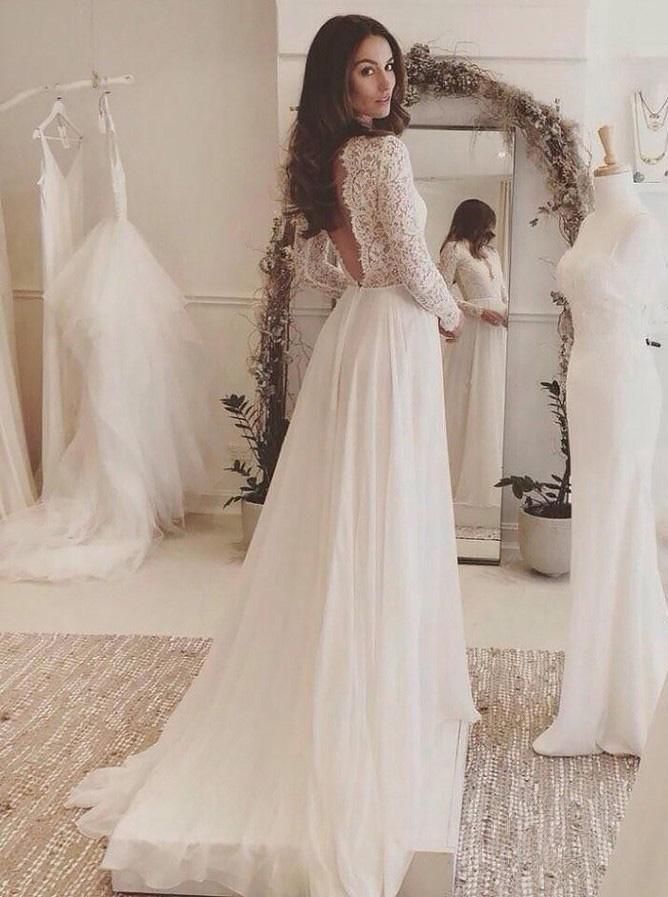 Long Sleeves Wedding Dressbeach Wedding Dresslace Chiffon Bridal