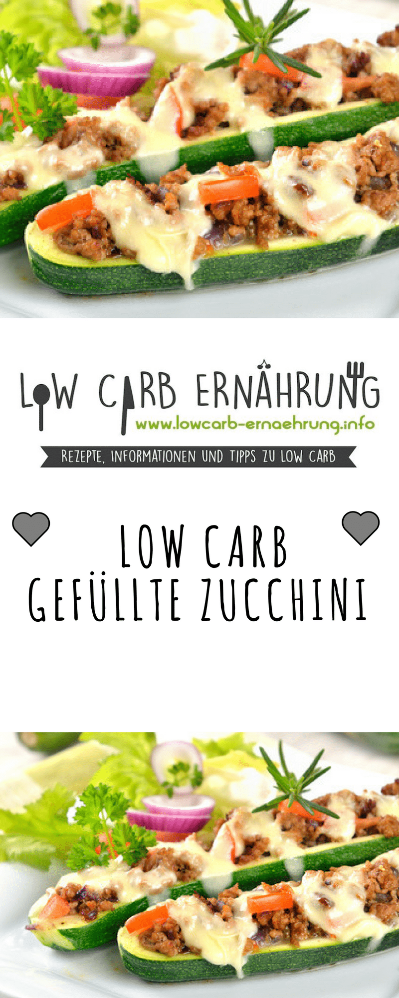 Photo of Low carb recipe for delicious stuffed zucchini with low carbohydrates. Low Ca …