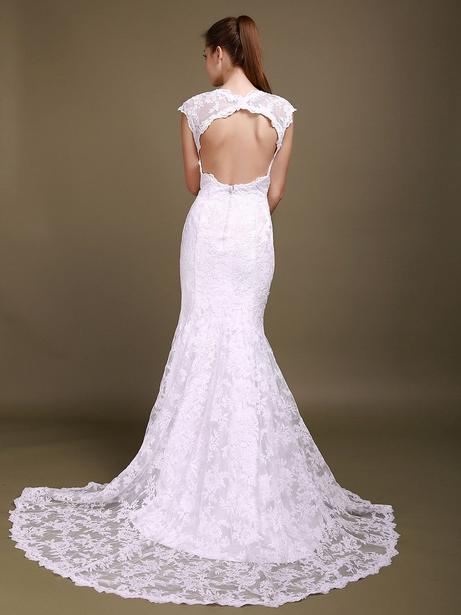 Cut out lace wedding dress  Scalloped Lace Cut Out Mermaid Wedding Dress  Looking bridal