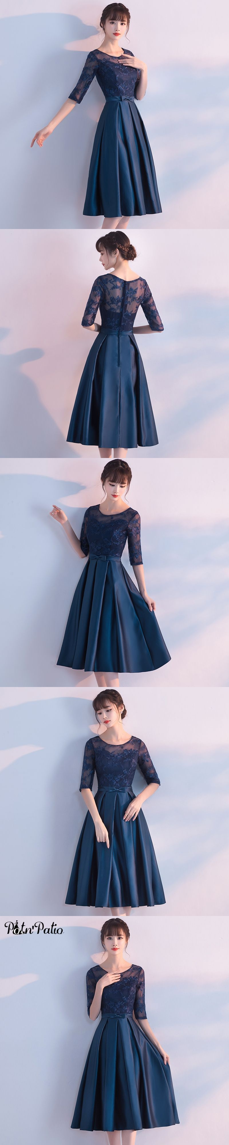 Potnupatio aline tea length medium long navy blue bridesmaid dress