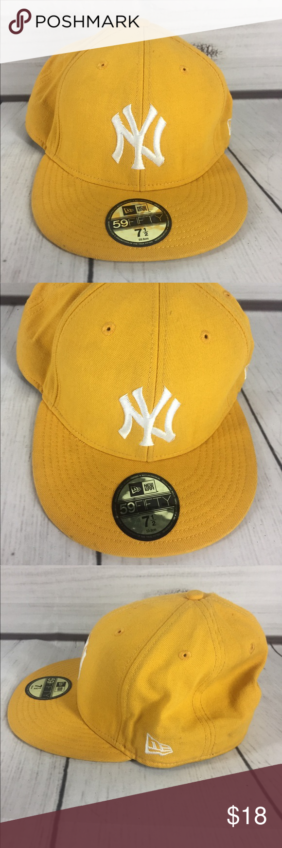 Yellow Yankee hat size 7.5 Great condition! While the sticker is still on  there 15b5a340dc0
