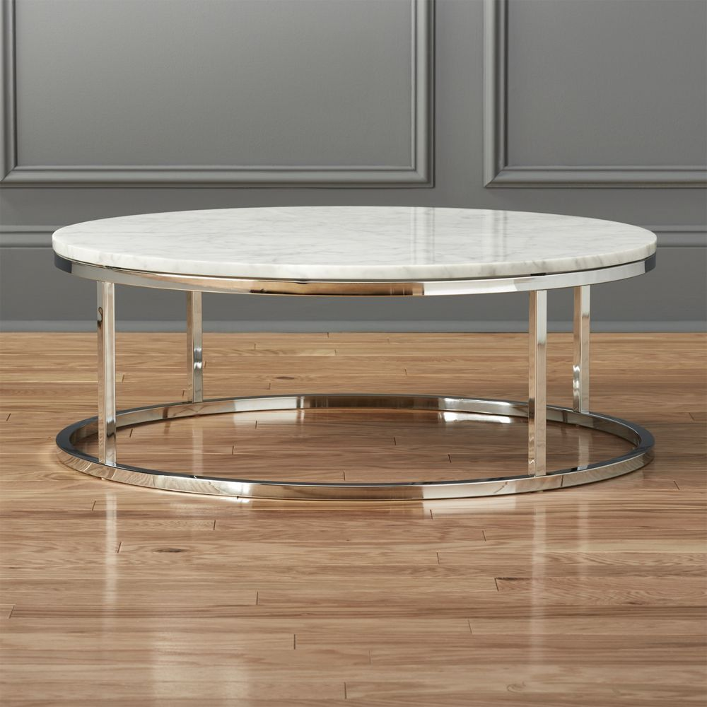 - CB2 Smart Round Marble Top Coffee Table Domino Marble Top